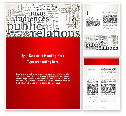 Careers/Industry: Public Relations Word Cloud Word Template #12722