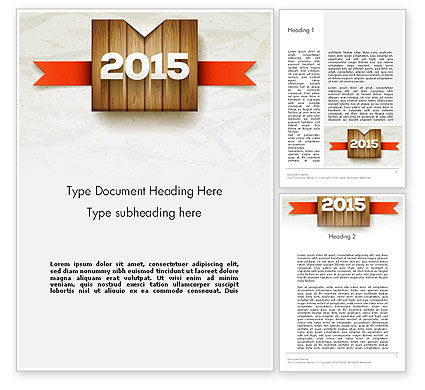 2015 on Wooden Surface with Ribbon Word Template, 12729, Holiday/Special Occasion — PoweredTemplate.com