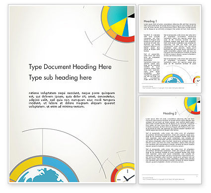 Business: Abstract Pie and Donut Charts in Flat Design Word Template #12730