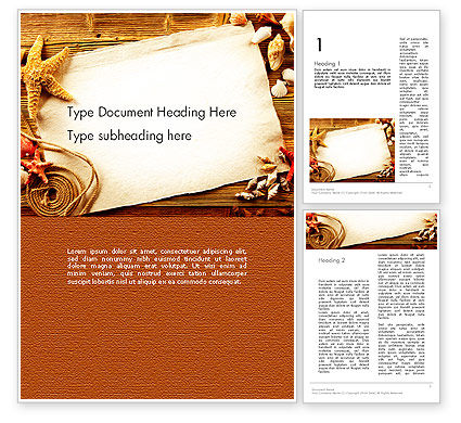 Holiday/Special Occasion: Ocean Shells Theme Word Template #12742