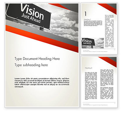 Business Concepts: Vision Just Ahead Sign Word Template #12752