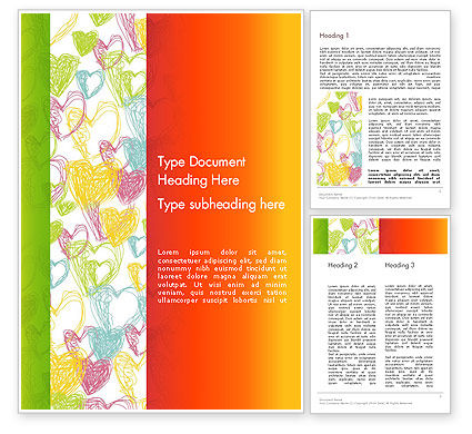Positive Hearts Word Template, 12755, Holiday/Special Occasion — PoweredTemplate.com