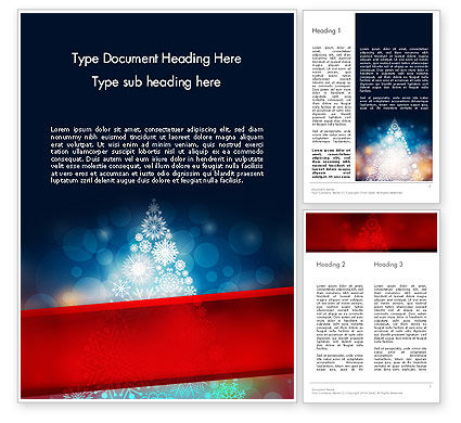 Snowflakes Christmas Tree Word Template, 12796, Holiday/Special Occasion — PoweredTemplate.com