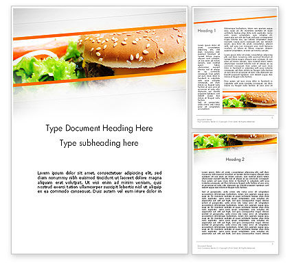 Food & Beverage: Cheese Burger with Salad Word Template #12811