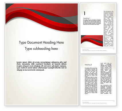 Abstract/Textures: 摘要红色和灰色波浪Word模板 #12843