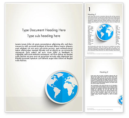 Global: Globe in Flat Design Word Template #12862