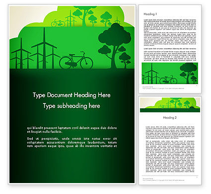 Nature & Environment: Going Green Word Template #12869
