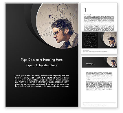Intense Thought Process Word Template, 12876, Business Concepts — PoweredTemplate.com
