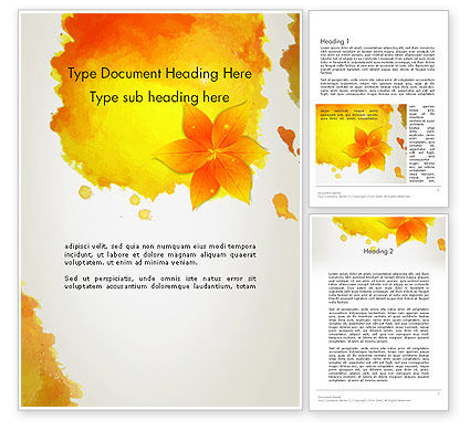 Ink Watercolor with Yellow Leaves Word Template