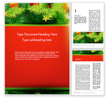 Christmas Fir Branches Word Template, 12888, Holiday/Special Occasion — PoweredTemplate.com