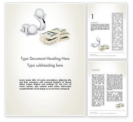 3D Small People and Dollar Packs Word Template, 12908, 3D — PoweredTemplate.com