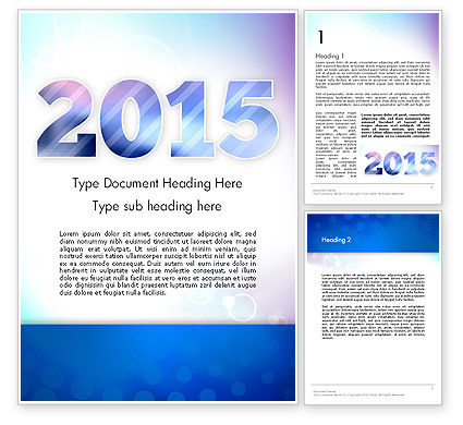Blue and Purple 2015 Word Template, 12909, Holiday/Special Occasion — PoweredTemplate.com
