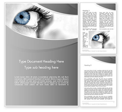Closeup of Very Blue Eye Word Template, 12916, People — PoweredTemplate.com