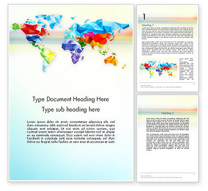 Colorful World Map in Polygonal Design Word Template, 12933, Global — PoweredTemplate.com