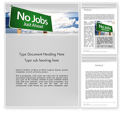 Consulting: No Jobs Green Road Sign Word Template #12961