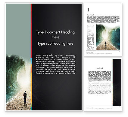 Walking Through The Water Word Template, 12969, Business Concepts — PoweredTemplate.com