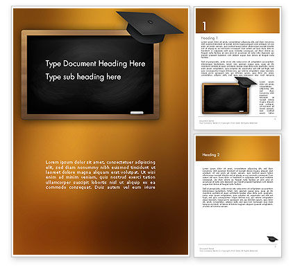 Blackboard with Mortarboard Word Template, 12978, Education & Training — PoweredTemplate.com