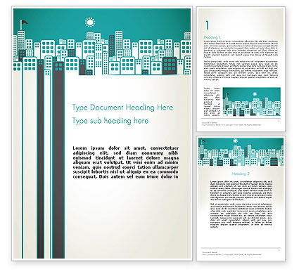 Construction: Sun Over the City Word Template #12980