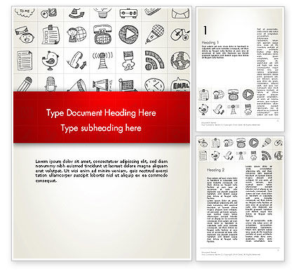 Business: Doodle Icons Background Word Template #12983