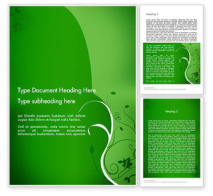 Abstract/Textures: Floral Ornament on Green Word Template #12996