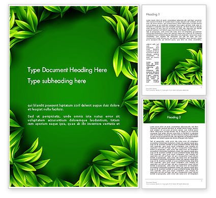 Abstract/Textures: Green Leaves Frame Word Template #13008