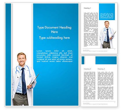 People: Smiling Physician Word Template #13016