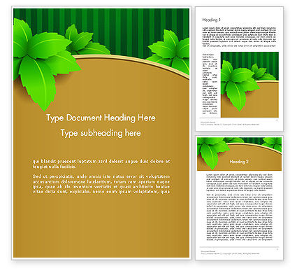 Nature & Environment: Green Leaves on Frame Word Template #13017