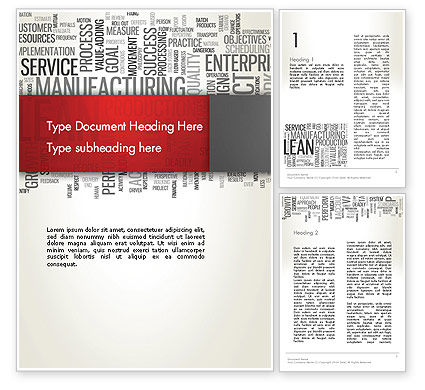 Business Concepts: Manufacturing Word Cloud Word Template #13023