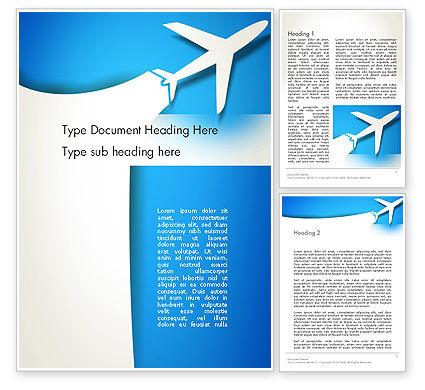 Plane Illustration Word Template, 13043, Cars/Transportation — PoweredTemplate.com