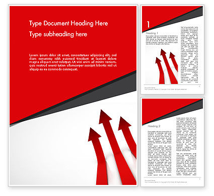 Red Arrows Moving Up Word Template, 13064, Business Concepts — PoweredTemplate.com