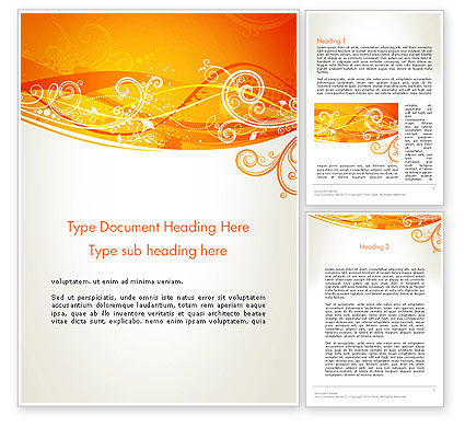 Abstract/Textures: Orange Background with Patterns Word Template #13066
