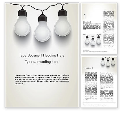 Three White Lamps in Garland Word Template, 13071, Careers/Industry — PoweredTemplate.com