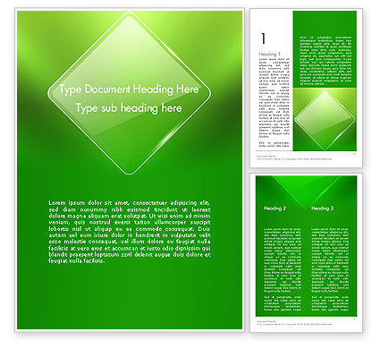 Abstract/Textures: Green Rhombus Word Template #13086
