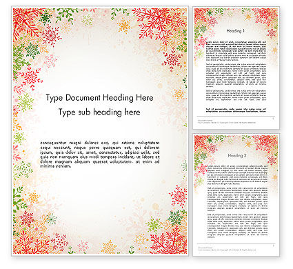 Holiday/Special Occasion: Colorful Snowflakes Word Template #13125