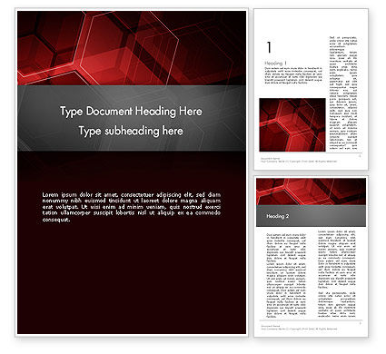 Abstract/Textures: Abstract Red Hexagons Word Template #13129