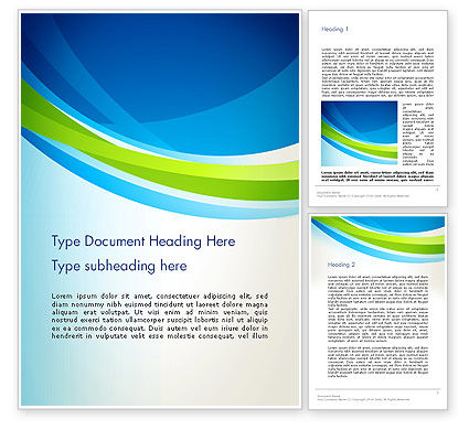 Abstract/Textures: Green and Blue Curves Word Template #13141
