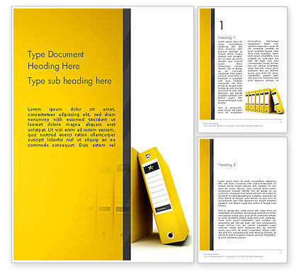 Yellow Binders Word Template, 13168, Business — PoweredTemplate.com