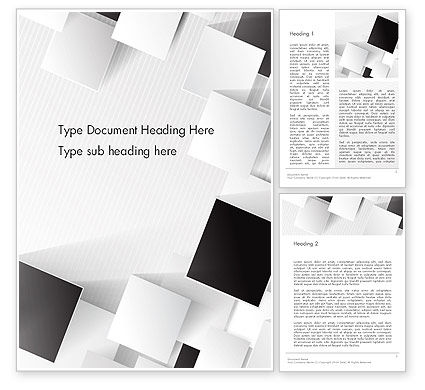 Abstract/Textures: Overlapping Black and White Squares Word Template #13211