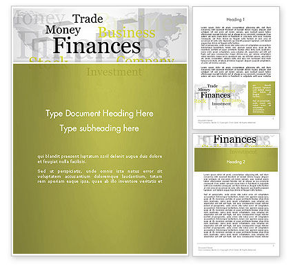 Financial/Accounting: Trade Money Finances Word Template #13222