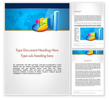 Bar and Pie Charts on Word Map Word Template, 13224, Business — PoweredTemplate.com