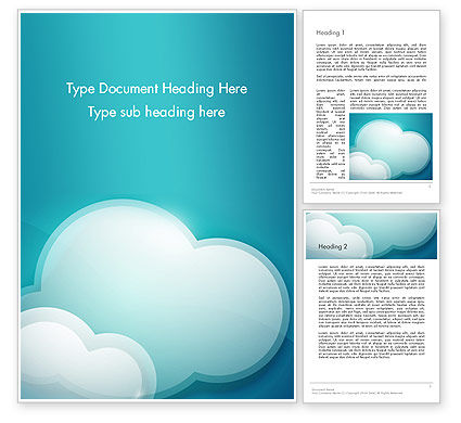 Turquoise Clouds Word Template, 13226, Nature & Environment — PoweredTemplate.com