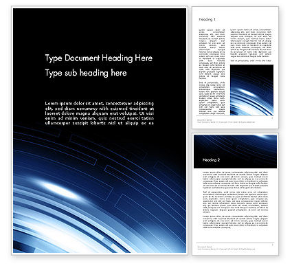 Blue Tech Style Abstract Word Template, 13233, Technology, Science & Computers — PoweredTemplate.com
