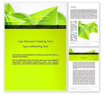 Green Neon Leaves Word Template