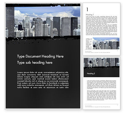 Business Skyscrapers Word Template, 13242, Construction — PoweredTemplate.com