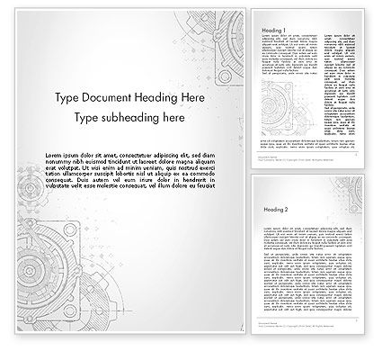 Machine Drawing Word Template, 13250, Utilities/Industrial — PoweredTemplate.com