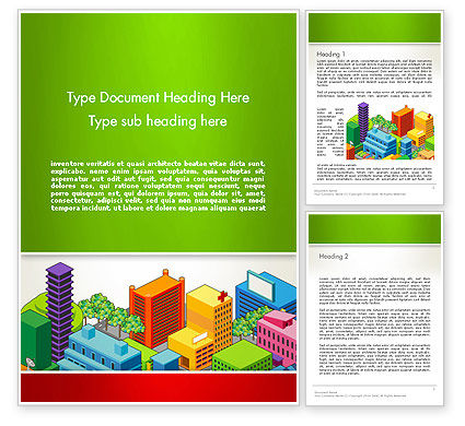 Construction: Isometric City Center Word Template #13256