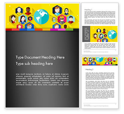 Faces Around the Globe Word Template, 13257, Business Concepts — PoweredTemplate.com