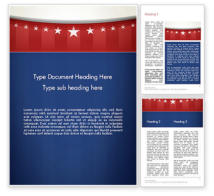American Flag Stylized Background Word Template