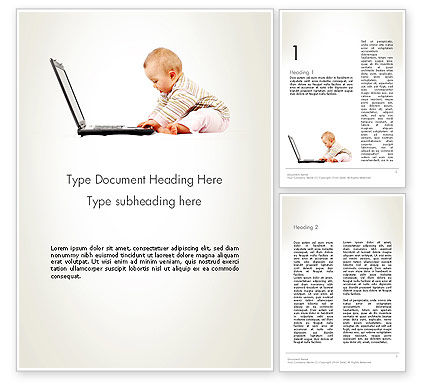 Small Baby with Laptop Word Template, 13280, Education & Training — PoweredTemplate.com