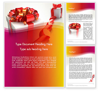 Holiday/Special Occasion: Gift Boxes with Red Bows Word Template #13284